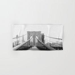 1920's Brooklyn Bridge, Brooklyn, New York black and white art photography - photographs Hand & Bath Towel