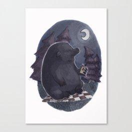 Bear on a Midnight Picnic Canvas Print