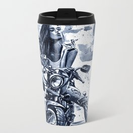 Biker Girl Metal Travel Mug