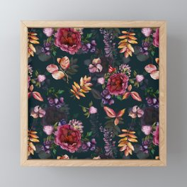 Autumn dark roses and florals Framed Mini Art Print