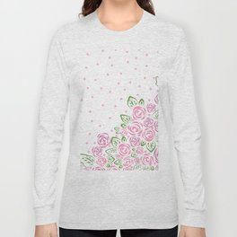 Garden Rose and Dots - Blush Long Sleeve T-shirt