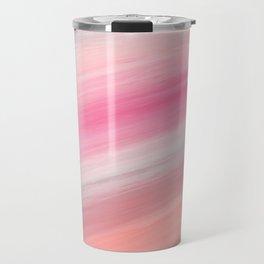 Girly aurora pink coral abstract brushstrokes Travel Mug