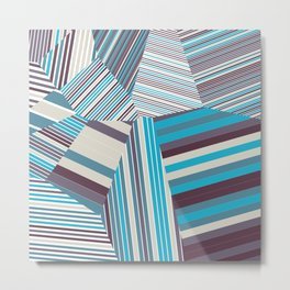 Skycraper Blues - Voronoi Stripes Metal Print