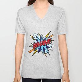 WHAM Comic Book Flash Pop Art Trendy Cool Typography Unisex V-Neck
