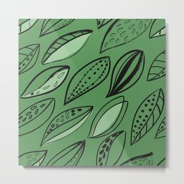 black Scandinavian style ink brush foliage on a green background Metal Print
