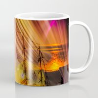 ships Mugs featuring Sailing ships sunset by Walter Zettl