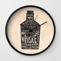 typography Wall Clocks featuring Whiskey by Jon Contino