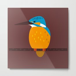 Kingfisher on a branch - animal graphic Metal Print