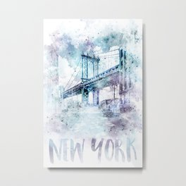 Modern Art NYC Manhattan Bridge | watercolor Metal Print