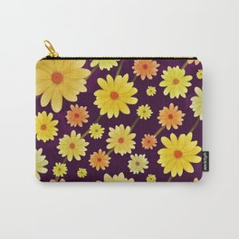 Yellow dots, Yellow Flower, Floral Pattern, Yellow Blossom Carry-All Pouch