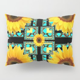 WESTERN STYLE  BLACK COLOR YELLOW SUNFLOWERS ART Pillow Sham