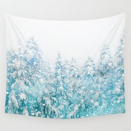 Snowy Pines Wall Tapestry