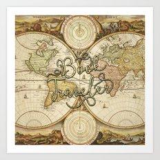 Book Traveler Vintage Map v2 Art Print