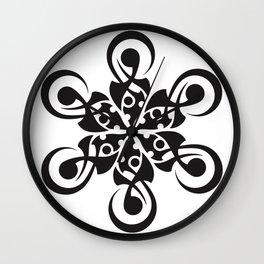 crop circle flower black Wall Clock