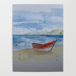 Red boat watercolour Poster