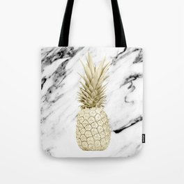 Gold Pineapple on Marble Tote Bag