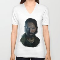rick grimes V-neck T-shirts featuring The Walking Dead - Rick Grimes by firatbilal