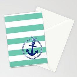 Aqua Stripes Navy Anchor Stationery Cards