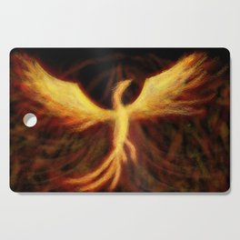 Phoenix Rising Fantasy Painting Bird Mythology Lengendary Creature Rebirth Colorful Cutting Board
