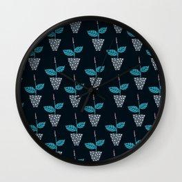 Potted Plants Dark Blue Wall Clock