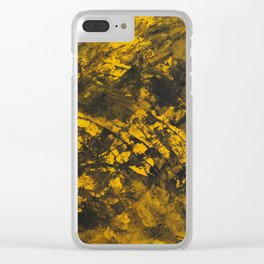 Black Ink on Yellow Background Clear iPhone Case