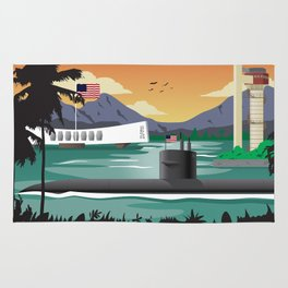 Pearl Harbor, HI - Retro Submarine Travel Poster Rug