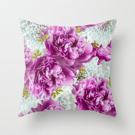 Summer bouquet of purple and white flowers - #Society6 #buyart Throw Pillow