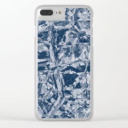 Custom Modern Abstract Blue Crinkle Pattern Clear iPhone Case