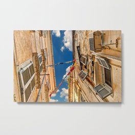 Looking up into the famous alleyways (kantounia) in the old town of Corfu, Greece Metal Print