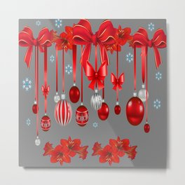 RED CHRISTMAS ORNAMENTS & SNOW FLAKES  ART Metal Print