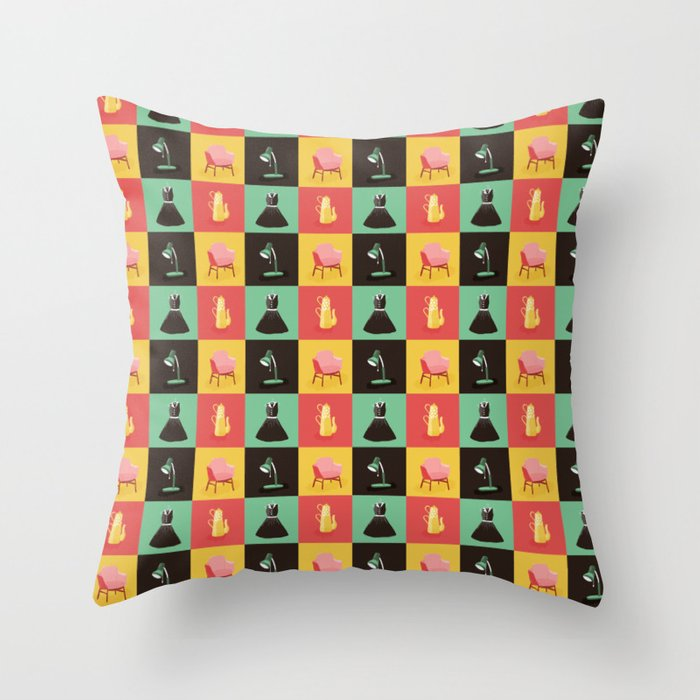 Mid-century stuff Throw Pillow