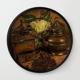 Vintage coffee grinder and pot Wall Clock