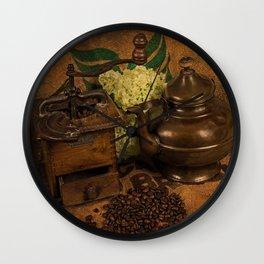 Vintage coffee grinder, pot an beans Wall Clock