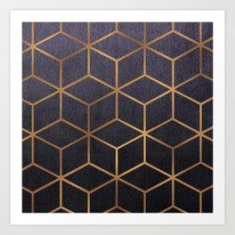 Dark Purple and Gold - Geometric Textured Gradient Cube Design Art Print