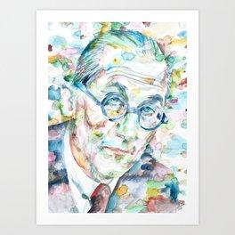 LE CORBUSIER - watercolor portrait Art Print