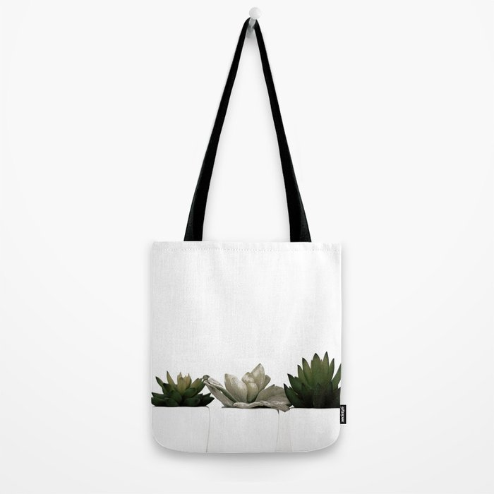 Lovely green cactus - cacti in white pots on a white background Tote Bag