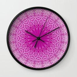 PURPLE AND WHITE LACE MANDALA WEB - VERTICAL Wall Clock