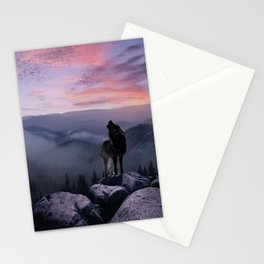 Lone Wolf at Sunset Ridge Stationery Cards