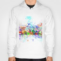 new york skyline Hoodies featuring New York skyline by Bekim ART