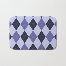 Blue Argyle Pattern Bath Mat