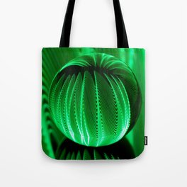 Green waves in glass ball Tote Bag