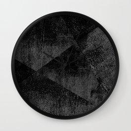 Black and Dark Gray Geometric Ink Texture Wall Clock