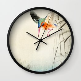 Kingfisher diving for fish - Vintage Japanese Woodblock Print  Wall Clock