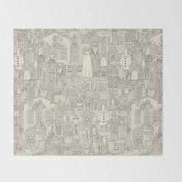 vintage halloween drab ivory Throw Blanket