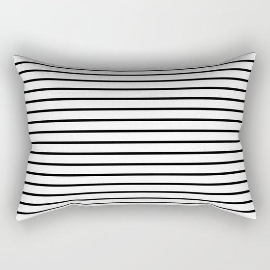 Horizontal Lines (Black/White) Rectangular Pillow