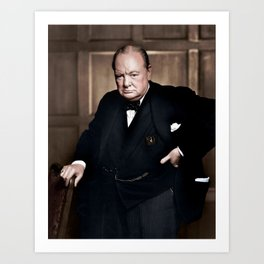 Winston Churchill in colour Art Print