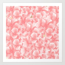 Hand painted coral white faux gold watercolor floral Art Print