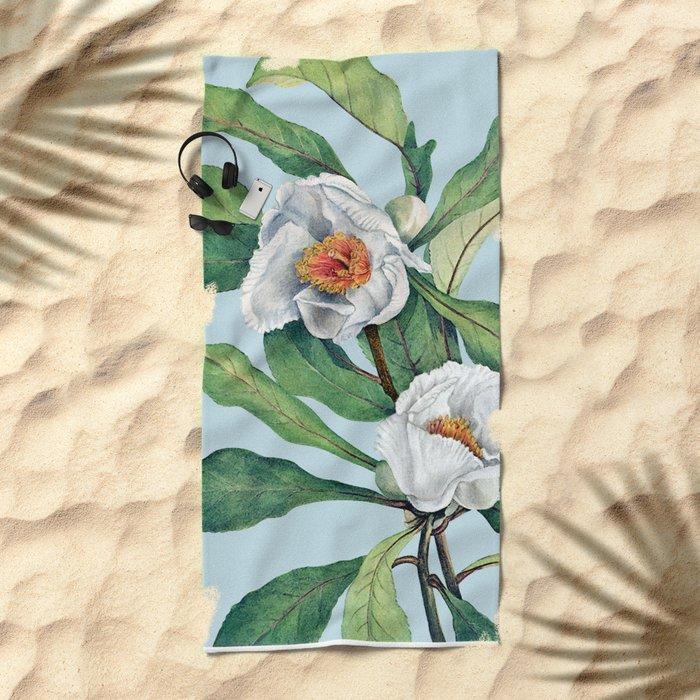 Franklin tree flowers Beach Towel