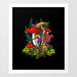 Forest Magic Mushrooms Art Print