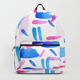 Blue Pink Diagonal Plaid Backpack